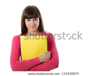 Young student girl with folders. - stock photo