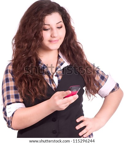 Young student girl with phone isolated - stock photo