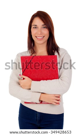 Young student girl with red folder isolated on a white background