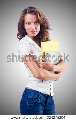 Young student isolated on the white - stock photo