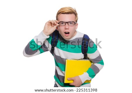 Young student isolated on the white background - stock photo
