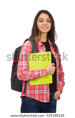 Young student isolated on white - stock photo