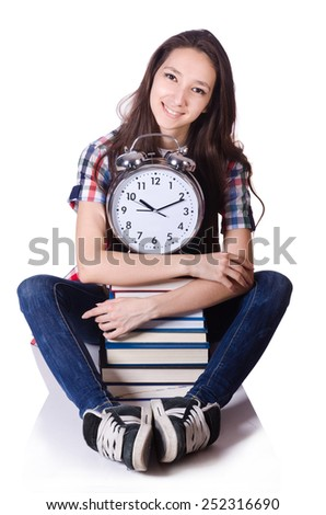 Young student missing exam deadline isolated on white - stock photo