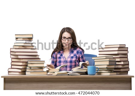 Young student preparing to the college exams isolated on white