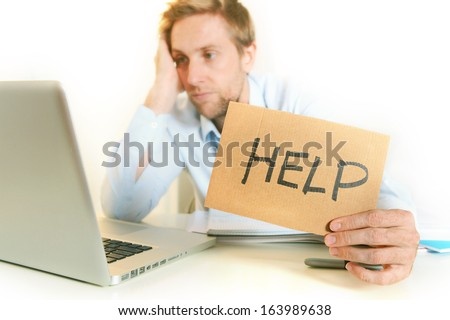 Young Student Stressed and Overwhelmed before an Exam asking for Help on clear Background - stock photo
