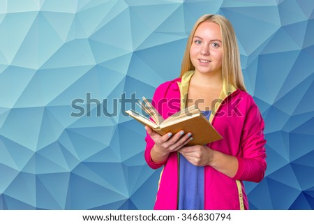 Young student, teenager girl reading a book - stock photo