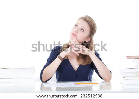 young student thinking about... - stock photo
