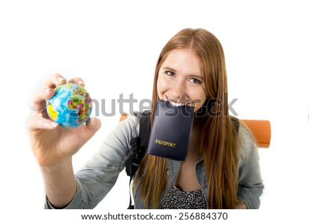 young student tourist woman holding passport on mouth searching travel destination holding world globe in holidays trip and vacation tourism concept isolated on white background - stock photo