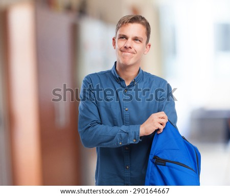 young student with back-pack