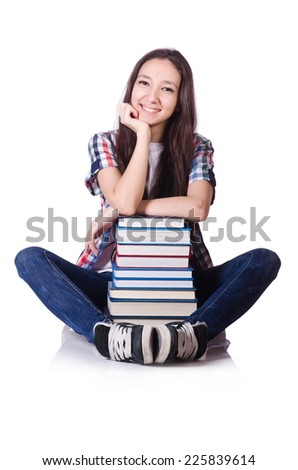 Young student with books isolated on the white - stock photo