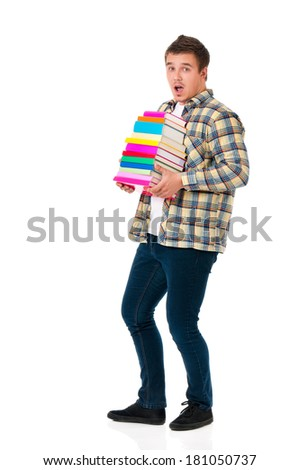 Young student with books, isolated on white background