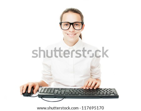 Young student with computer keyboard and mouse, isolated on white background
