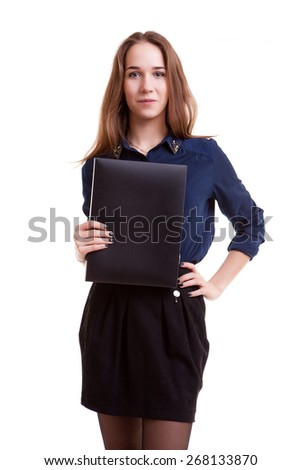 Young student with folder in her hand isolated over white background. Studio shooting. School and success in studying - stock photo