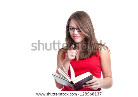 young student with glasses and book isolated