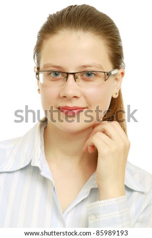 Young student woman isolated on white background.