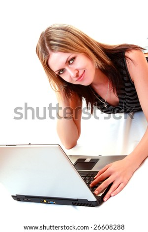 Young student woman with laptop on white