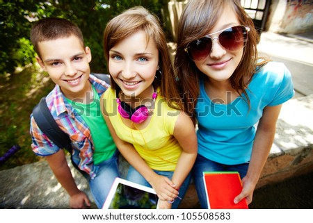 Young students enjoying themselves in the open air