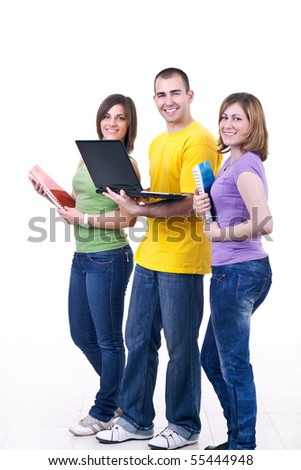 young students with books and laptop smiling