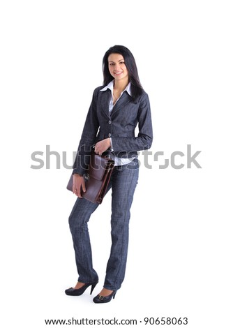 Young stylish business woman with briefcase isolated on white in full body. - stock photo