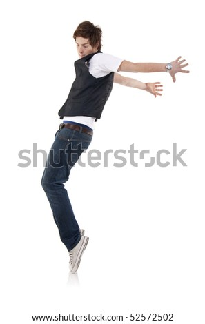 Young stylish  dancer in front of white background moving to hip hop music. - stock photo