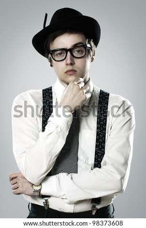 Young stylish man in vintage suit - stock photo
