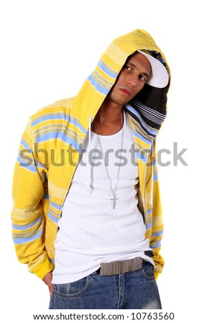 Young stylish man Young man with clothes in hip-hop style over pure white background.