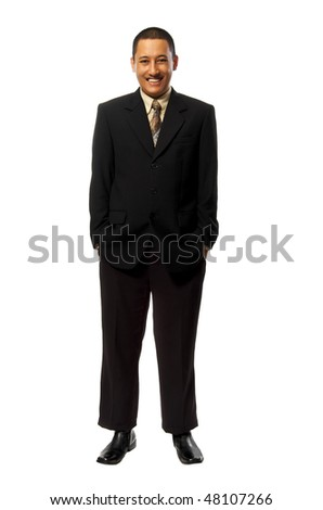 Young Success Fullbody business man isolated on white background - stock photo