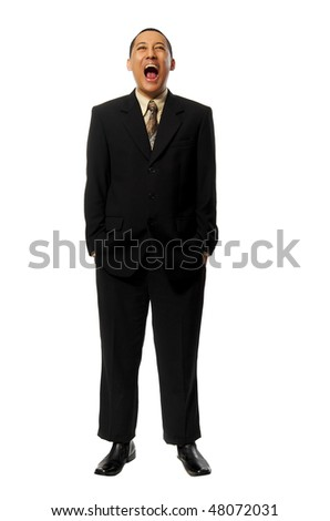 Young Success Fullbody business man screaming isolated on white background