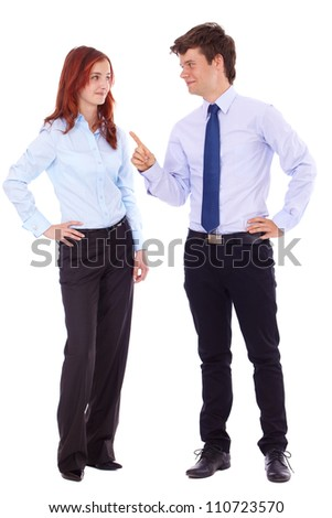 Young successful attractive smiling woman and man in blue shirts, isolated on white - stock photo