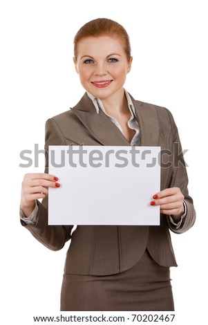 Young successful business woman holding blank sign. - stock photo