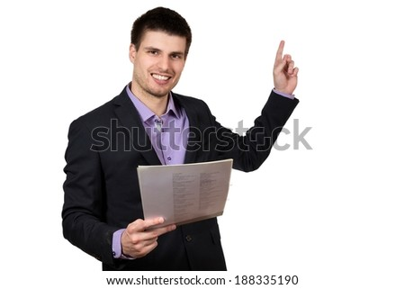 Young successful businessman, presenting his company, isolated on white background.