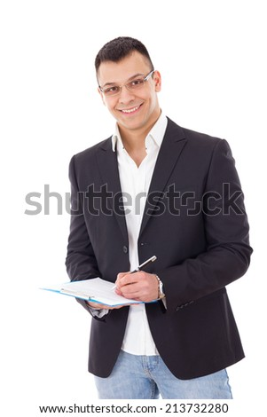 young successful businessman with notes and pen