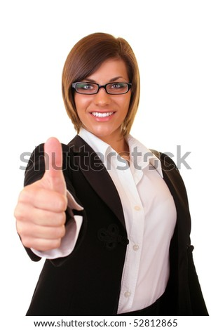 young successful businesswoman smiling holding thumbs up