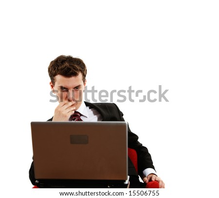 young successful confident man with laptop - stock photo