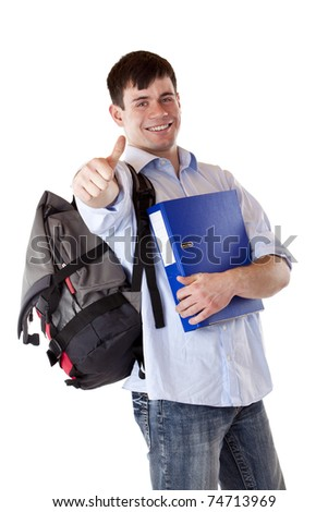 Young, successful, happy male student express success with thump up. Isolated on white background.