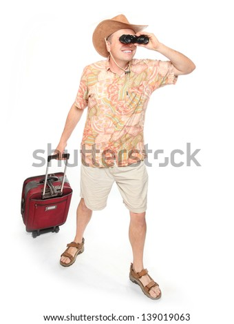 Young successful man going to holidays.