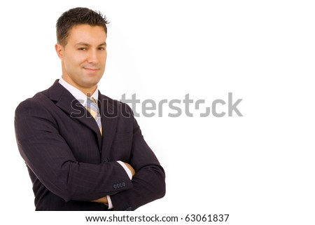 young successfull business man portrait, isolated on white