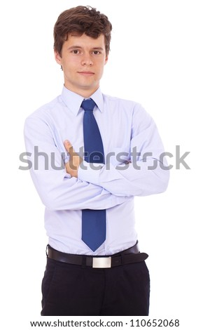 young successfull standing professional businessmen in blue shirt and tie isolated on white - stock photo
