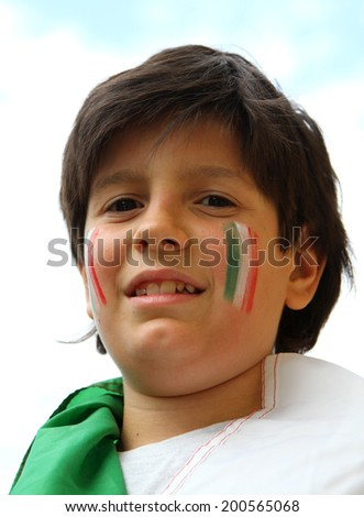 young supporter before the football match - stock photo