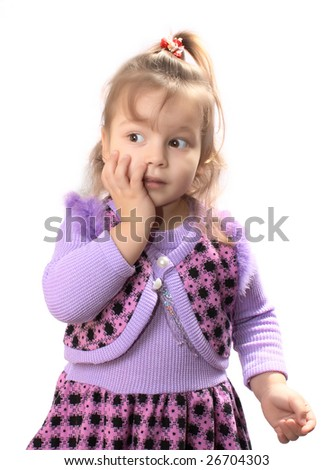 Young surprised girl on white background