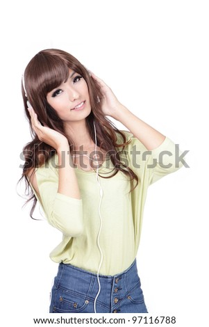 Young Sweet girl happy listen music with smile face isolated on white background, model is a asian beauty - stock photo