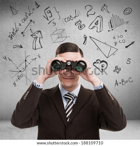 Young teacher at university with math symbols overhead looking for talent. Education concept - stock photo