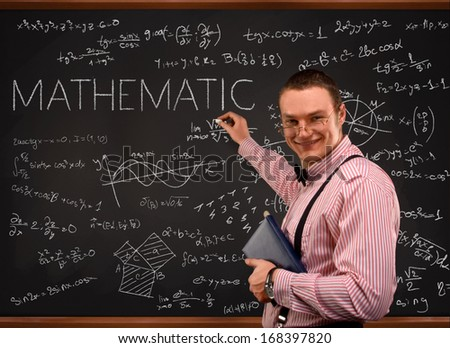 Young  teacher portrait with blackboard background (mathematic) - stock photo