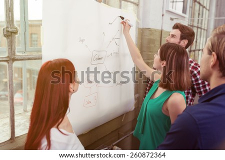 Young team leader doing in house training giving a presentation on a flip chart watched by her young colleagues in an informal office - stock photo