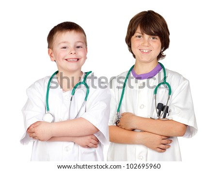 Young team of doctors isolated on white background - stock photo