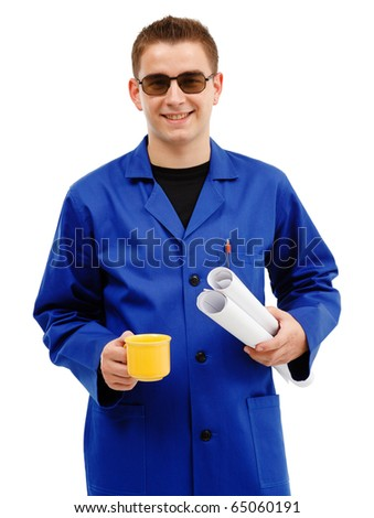 Young technician taking coffee break while holding rolls of papers - stock photo