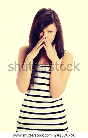 Young teen woman with depression. - stock photo