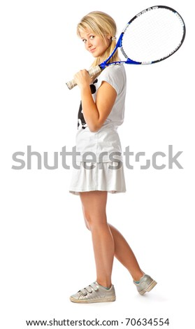Young teenage girl holding a tennis racket. Isolated on white background - stock photo
