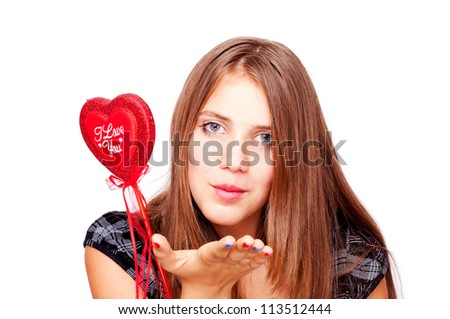 """Young teenage girl sending kiss and holding heart with words """"I Love You"""" - stock photo"""