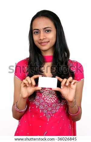 Young teenager holding a name card. Isolated on a white background.